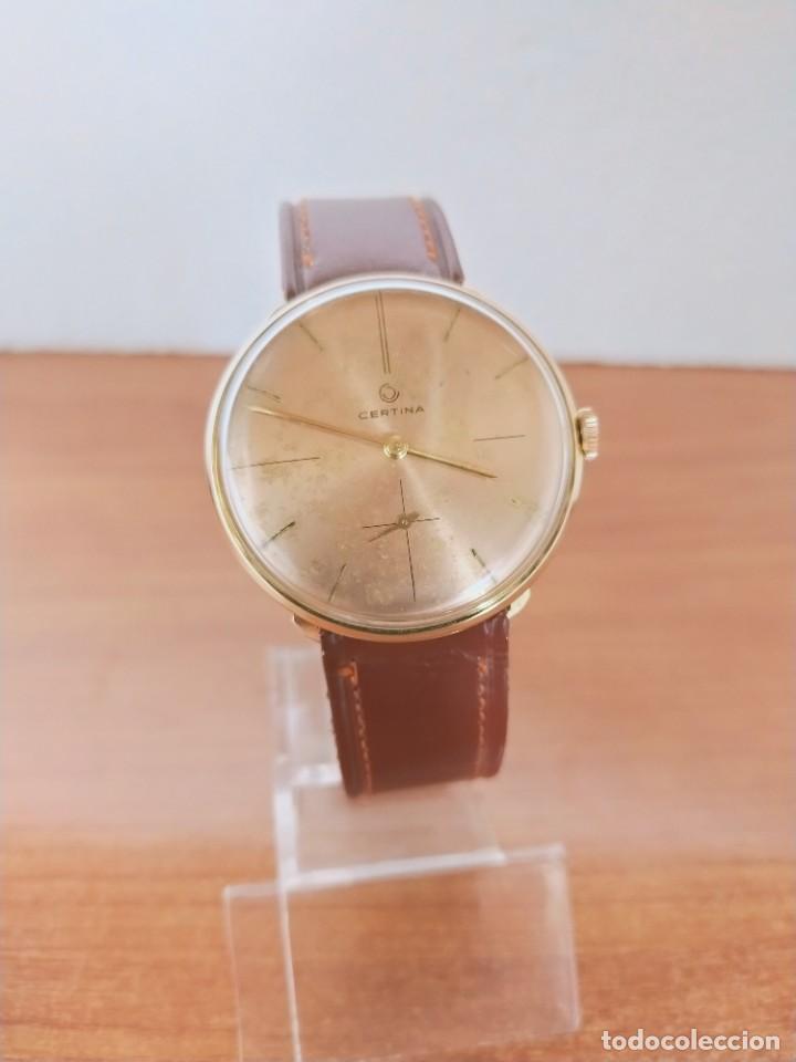 Relojes de pulsera: Reloj caballero (Vintage) CERTINA chapado oro 10 micras de cuerda, 15 rubís, correa cuero marrón. - Foto 16 - 213426661