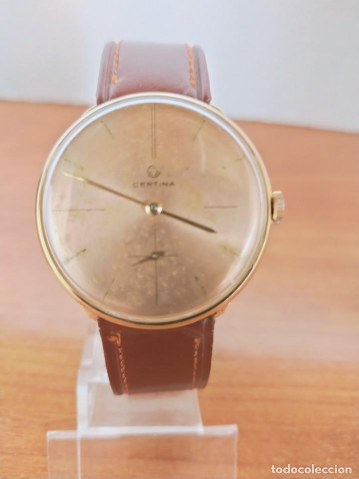 Relojes de pulsera: Reloj caballero (Vintage) CERTINA chapado oro 10 micras de cuerda, 15 rubís, correa cuero marrón. - Foto 18 - 213426661