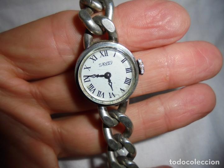 RELOJ DE SEÑORA MARCA SAVOY DE PLATA 835 NO FUNCIONA BIEN (Relojes - Pulsera Carga Manual)