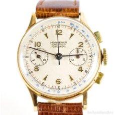 Relojes de pulsera: MONSEGUR. RELOJ CRONÓGRAFO DE PULSERA PARA CABALLERO. ORO 18K. CA. 1950. Lote 215563330