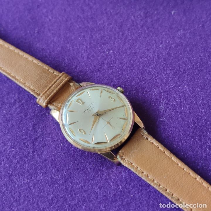 Relojes de pulsera: ANTIGUO RELOJ DE PULSERA ROSBU. SWISS. CARGA MANUAL-CUERDA.EN FUNCIONAMIENTO.AÑOS 60.CABALLERO. - Foto 2 - 216576378