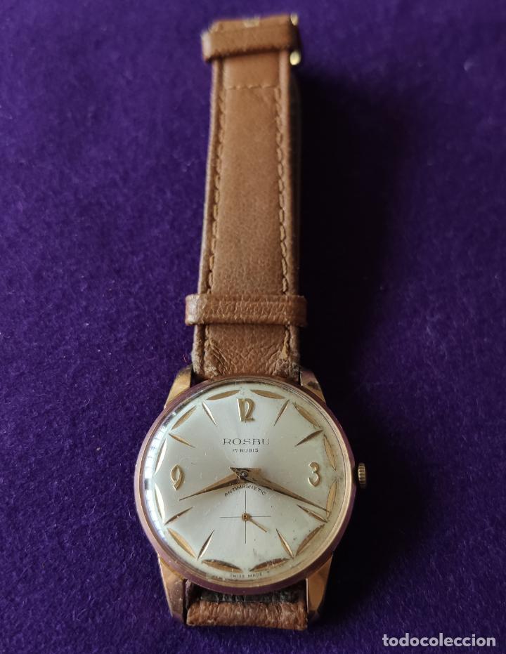 ANTIGUO RELOJ DE PULSERA ROSBU. SWISS. CARGA MANUAL-CUERDA.EN FUNCIONAMIENTO.AÑOS 60.CABALLERO. (Relojes - Pulsera Carga Manual)