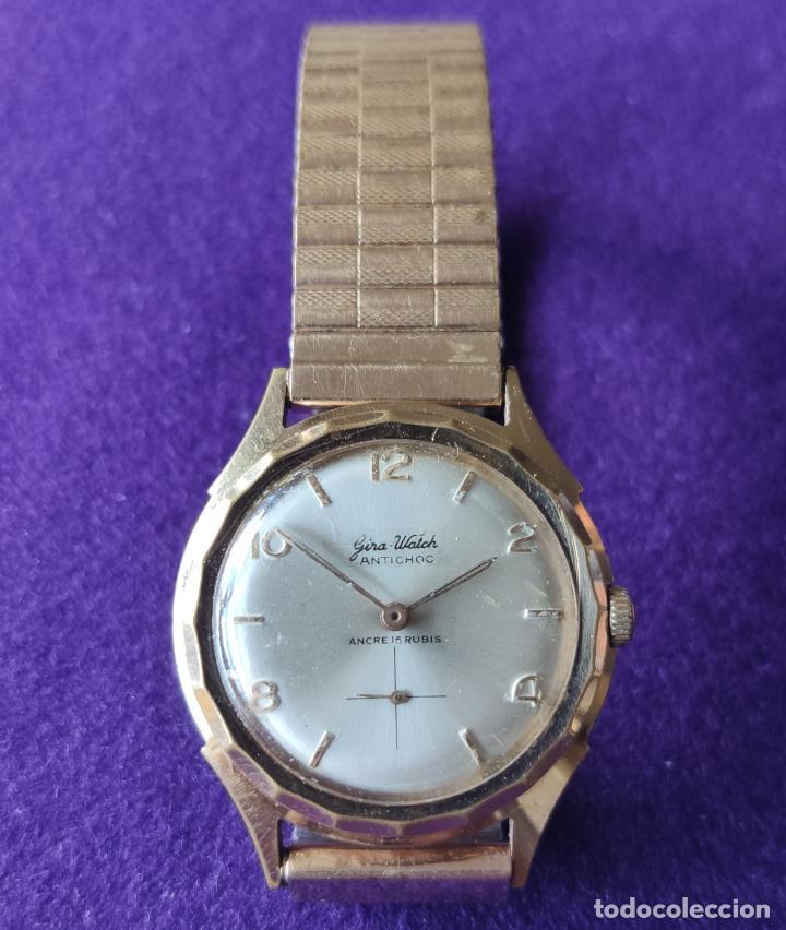 ANTIGUO RELOJ DE PULSERA GIRA WATCH. 15 RUBIS. SWISS. CARGA MANUAL-CUERDA. AÑOS 60. CABALLERO (Relojes - Pulsera Carga Manual)