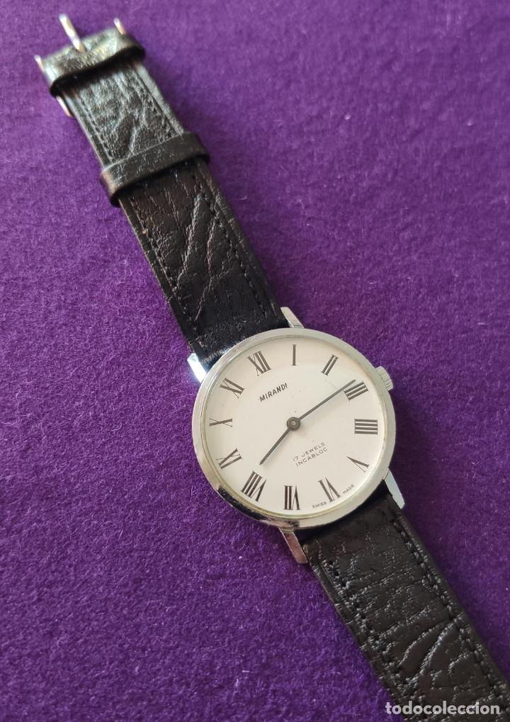 Relojes de pulsera: ANTIGUO RELOJ DE PULSERA MIRANDI. 17 RUBIS. SWISS. CARGA MANUAL-CUERDA. AÑOS 60. CABALLERO - Foto 2 - 216842447