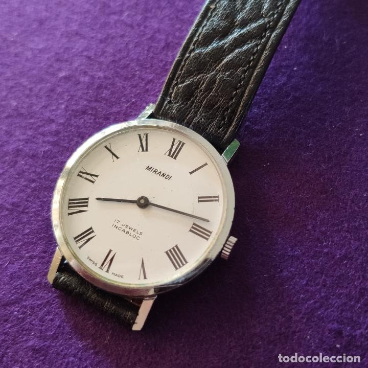 Relojes de pulsera: ANTIGUO RELOJ DE PULSERA MIRANDI. 17 RUBIS. SWISS. CARGA MANUAL-CUERDA. AÑOS 60. CABALLERO - Foto 3 - 216842447