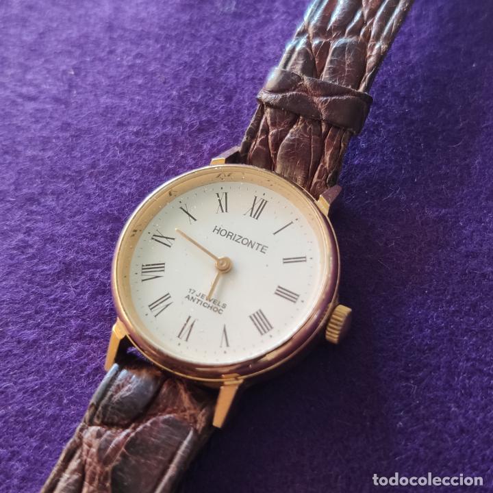 Relojes de pulsera: ANTIGUO RELOJ DE PULSERA HORIZONTE. 17 RUBIS. CARGA MANUAL-CUERDA. AÑOS 60. SEÑORA. - Foto 2 - 216842987