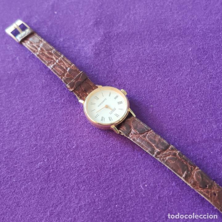 Relojes de pulsera: ANTIGUO RELOJ DE PULSERA HORIZONTE. 17 RUBIS. CARGA MANUAL-CUERDA. AÑOS 60. SEÑORA. - Foto 3 - 216842987
