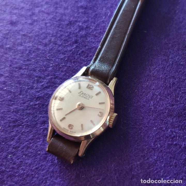 Relojes de pulsera: ANTIGUO RELOJ DE PULSERA EXACTUS. SWISS. 15 RUBIS. CARGA MANUAL-CUERDA. AÑOS 60. SEÑORA. - Foto 3 - 216843111