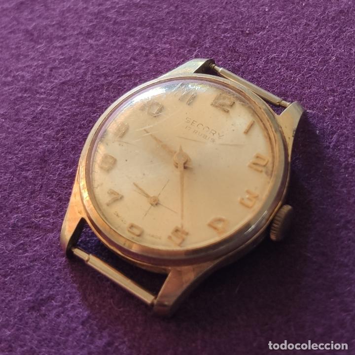 Relojes de pulsera: ANTIGUO RELOJ DE PULSERA SECORY. SWISS. CARGA MANUAL-CUERDA. NECESITA AJUSTE Y LIMPIEZA. AÑOS 60. - Foto 2 - 216844147