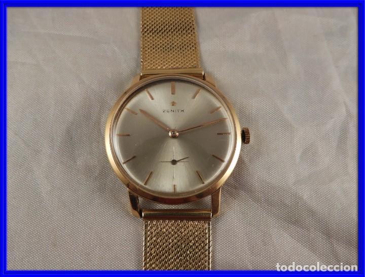 RELOJ ZENITH DE ORO CON CADENA DE ORO. FUNCIONA CORRECTAMENTE (Relojes - Pulsera Carga Manual)