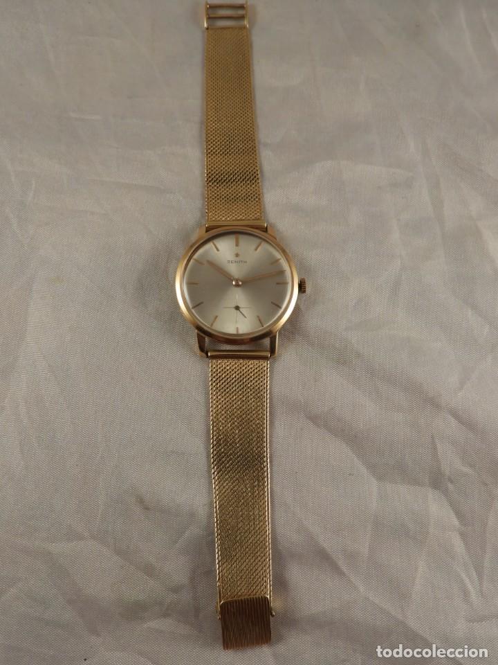 Relojes de pulsera: RELOJ ZENITH DE ORO CON CADENA DE ORO. FUNCIONA CORRECTAMENTE - Foto 2 - 218101380