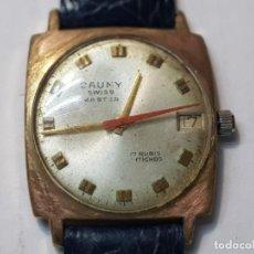 Relojes de pulsera: RELOJ CABALLERO CAUNY PRIMA SWISS MASTER PLAQUE ORO 10 MICRONS 17 JEWELS FUNCIONANDO. Lote 219007482