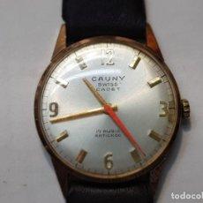 Relojes de pulsera: RELOJ CADETE CAUNY PRIMA SWISS CADET PLAQUE ORO 10 MICRONS 17 JEWELS. Lote 219008046