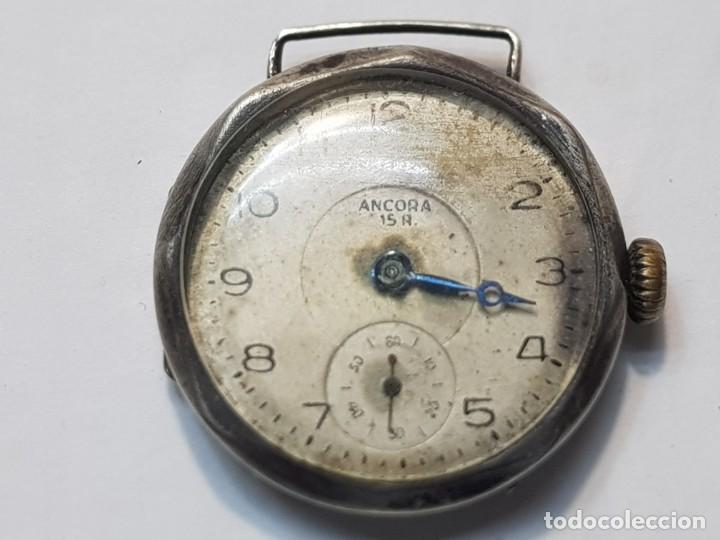RELOJ ANCORA PLATA 0800 TRINCHERA 15 JEWELS DIFICIL (Relojes - Pulsera Carga Manual)