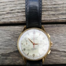 Relojes de pulsera: RELOJ CRONÓMETRO DE CABALLERO LE LOCLE CRYSTAL WACHT 17 RUBÍES AÑOS 50' PERFECTO FUNCIONAMIENTO. Lote 220974375