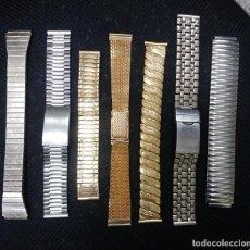 Relojes de pulsera: ARMIS LOTE DE 7 CORREAS METALICAS. Lote 222084075