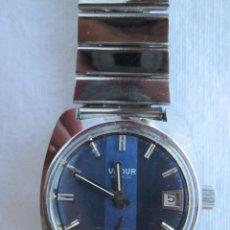Relojes de pulsera: RELOJ DE PULSERA VADUR, CARGA MANUAL-CUERDA - CALENDARIO- FUNCIONANDO - DE ACERO INOXIDABLE CADENA R. Lote 224015128
