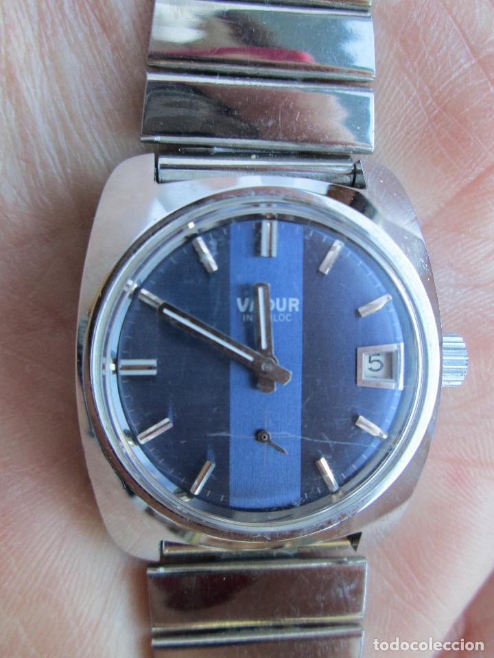 Relojes de pulsera: RELOJ DE PULSERA VADUR, CARGA MANUAL-CUERDA - CALENDARIO- FUNCIONANDO - DE ACERO INOXIDABLE CADENA R - Foto 2 - 224015128
