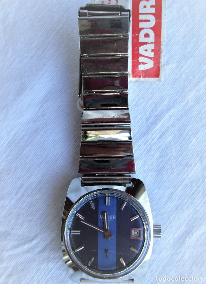 Relojes de pulsera: RELOJ DE PULSERA VADUR, CARGA MANUAL-CUERDA - CALENDARIO- FUNCIONANDO - DE ACERO INOXIDABLE CADENA R - Foto 3 - 224015128