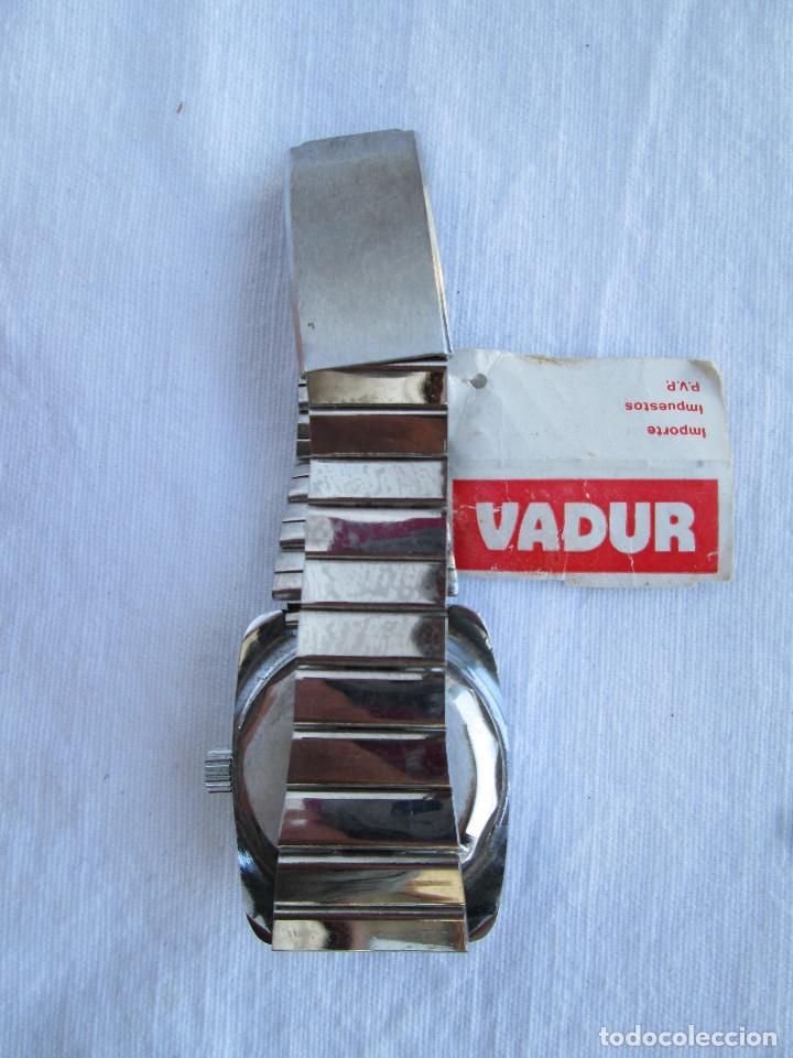 Relojes de pulsera: RELOJ DE PULSERA VADUR, CARGA MANUAL-CUERDA - CALENDARIO- FUNCIONANDO - DE ACERO INOXIDABLE CADENA R - Foto 4 - 224015128