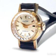 Relojes de pulsera: PEQUEÑO RELOJ VINTAGE FESTINA DE SEÑORA AÑOS 50 CARGA MANUAL CALIBRE ETA 2412 Y NUEVO. Lote 226432065