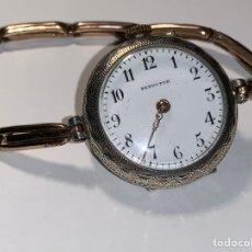 Relojes de pulsera: ANTIGUO RELOJ DE PLATA DE SEÑORA SEDUCTOR CON ARMIS CHAPADO EN ORO. LE FALTA EL MINUTERO. Lote 228307105