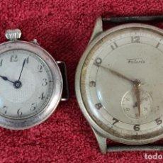 Relojes de pulsera: PAREJA DE RELOJES DE PULSERA. PLATA Y METAL. MARCA FELARIS. CIRCA 1950.. Lote 230313510