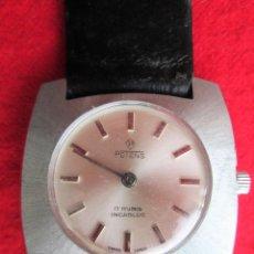 Relojes de pulsera: RELOJ DE PULSERA SUIZO POTENS - CARGA MANUAL, CUERDA - PULSERA PIEL ORIGINAL CON SU CAJA FONDO ACERO. Lote 234449320