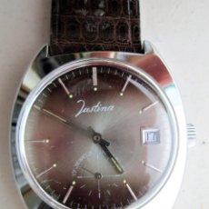 Relojes de pulsera: RELOJ DE PULSERA SUIZO JUSTINA - CARGA MANUAL, CUERDA - PULSERA PIEL ORIGINAL CON SU CAJA FONDO ACER. Lote 234452490