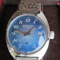Relojes de pulsera: RELOJ DE PULSERA REYBLAN CARGA MANUAL-CUERDA - CALENDARIO- FUNCIONANDO - DE ACERO INOXIDABLE CADENA. Lote 234454070