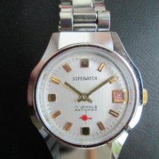 Relojes de pulsera: RELOJ DE PULSERA SUPERWATCH CARGA MANUAL-CUERDA - CALENDARIO- FUNCIONANDO - DE ACERO INOXIDABLE - SI. Lote 234454580