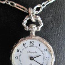 Relojes de pulsera: RELOJ DE COLGAR CON CADENA, TODO EN PLATA DE LEY - THERMIDOR DE CUERDA - FUNCIONANDO -. Lote 234454970