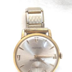 Relojes de pulsera: FESTINA LA CHAUX DE FONDS RELOJ SUIZO PLAQUE ORO VINTAGE, CORREO FLEXO, FUNCIONA. Lote 236419770