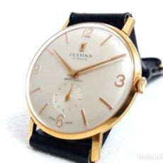 Relojes de pulsera: GRAN RELOJ VINTAGE FESTINA DE ORO DE LEY AÑOS 50 CARGA MANUAL CALIBRE PESEUX 320 Y NUEVO A ESTRENAR. Lote 236606625