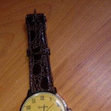 Relojes de pulsera: RELOJ AÑOS 70 CARGA MANUAL FUNCIONA PERFECTAMENTE MARCA YEARLING ESFERA AMARILLA. Lote 238319545