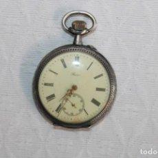 Relojes de pulsera: RELOJ DE BOLSILLO MARCA BOCOR. CARGA MANUAL. DOBLE TAPA. REALIZADO EN PLATA DE LEY. AÑOS 20. Lote 245574950