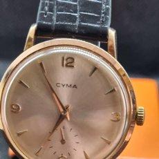 Relojes de pulsera: RELOJ (VINTAGE) CYMA CHAPADO, DE CUERDA CALIBRE CYMA 484, ESFERA BLANCA, AGUJAS ORIGINALES 17 RUBÍS.. Lote 247759210