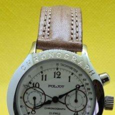 Relojes de pulsera: RELOJ CABALLERO (VINTAGE) POLJOT CUERDA MANUAL, CALENDARIO LAS SEIS, CAJA ACERO, CORREA CUERO MARRÓN. Lote 247983565