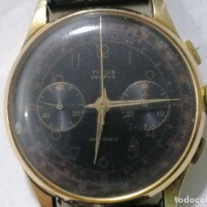 Relojes de pulsera: RELOJ CRONOGRAFO DE CUERDA, MARCA TITUS GENEVE, ORO 18 K, CORREA DE PIEL, FUNCIONA. Lote 262277160