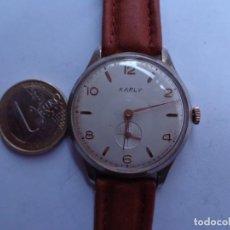 Relojes de pulsera: AÑOS 60 RELOJ CABALLERO CUERDA KARLY BUEN ESTADO COMPLETO Y FUNCIONANDO PERFECTO. Lote 262772605