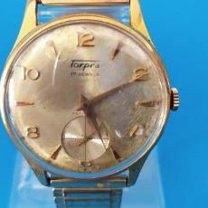 Relojes de pulsera: RELOJ SWISS TORPRA DE CUERDA AÑO 1960 17 RUBIS CAJA DE METAL CON BAÑO DE ORO ESTADO ACEPTABLE. Lote 265421174