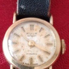 Relojes de pulsera: RELOJ DE PULSERA KULM SPORT , SUIZO, RARO, CUERDA, PARA MUJER,DE CUERDA,CAJA DE ORO DE 14K. Lote 266052838