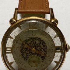 Relojes de pulsera: RELOJ CAUNY PRIMA RELOJ TARO ESFERA CALADA CON 2 CRISTALES PLEXIGLAS RARP. Lote 269600593
