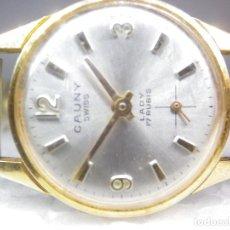 Relojes de pulsera: PRECIOSO CAUNY AÑOS 60 CHAPADO EN ORO CASI IMPECABLE FUNCIONA NECESITA ATENCION. Lote 269817448