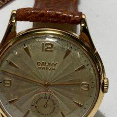 Relógios de pulso: RELOJ CAUNY PRIMA GIGANTE CARGA MANUAL CAJA CHAPADA ORO EN FUNCIONAMIENTO. Lote 278236233