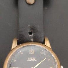 Relojes de pulsera: CAUNY GENEVE ESFERA NEGRA CARGA MANUAL, AÑOS 50, UNA PRECIOSIDAD, FUNCIONANDO.. Lote 278927398
