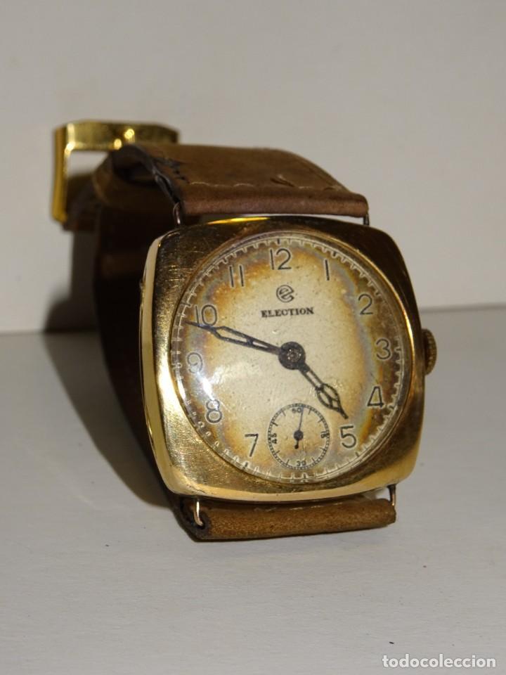 Relojes de pulsera: ANTIGUO RELOJ DE ORO 18K. CARGA MANUAL - ELECTION - SWISS MADE - FUNCIONANDO , 4X3,5 CM. - Foto 2 - 280637963
