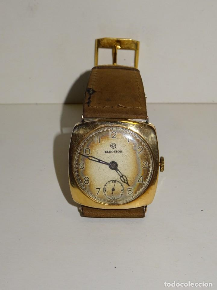Relojes de pulsera: ANTIGUO RELOJ DE ORO 18K. CARGA MANUAL - ELECTION - SWISS MADE - FUNCIONANDO , 4X3,5 CM. - Foto 3 - 280637963