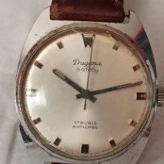 Relojes de pulsera: RELOJ DUGENA SAFETY 17 RUBIS CALIBRE 980 ACERO INOXIDABLE FUNCIONA MUY BIEN SEGUNDERO CENTRAR CUERDA. Lote 284701263