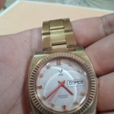Relojes de pulsera: ESPECTACULAR RELOJ JAZ 10 MICRAS DE ORO DOBLE CALENDARIO ANTICHOC CARGA MANUAL FUNCIONANDO. Lote 285108403